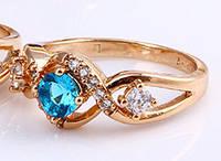Кольцо позолота с голубым и белыми цирконами (gf682) Размер 18