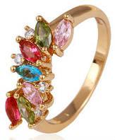 Кольцо позолота Gold Filled с разноцветными цирконами (GF455) Размер 18