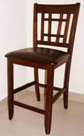Стул барный деревянный 760 сиденье тесненный коричневый кожзам