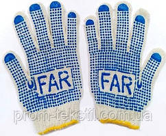 Перчатки с ПВХ- точкой (белые с желтым кантом) FAR 2-й сорт