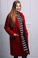 Зимнее женское пальто из натуральной шерсти красное