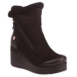 Ботинки женские Mamma Mia (из натурального нубука, черные, на танкетке, модные, удобные)