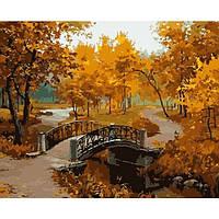 Картина по номерам Мостик в осеннем парке без коробки
