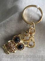 """Брелок  металлический """"Сова""""  длина с кольцом  11,5  см."""