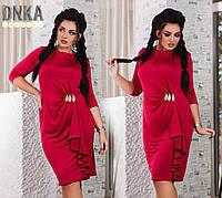 Платье БАТАЛ вечернее юбка волан с брошью красное
