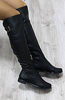 Зимние натуральные кожаные сапоги-ботфорты черные
