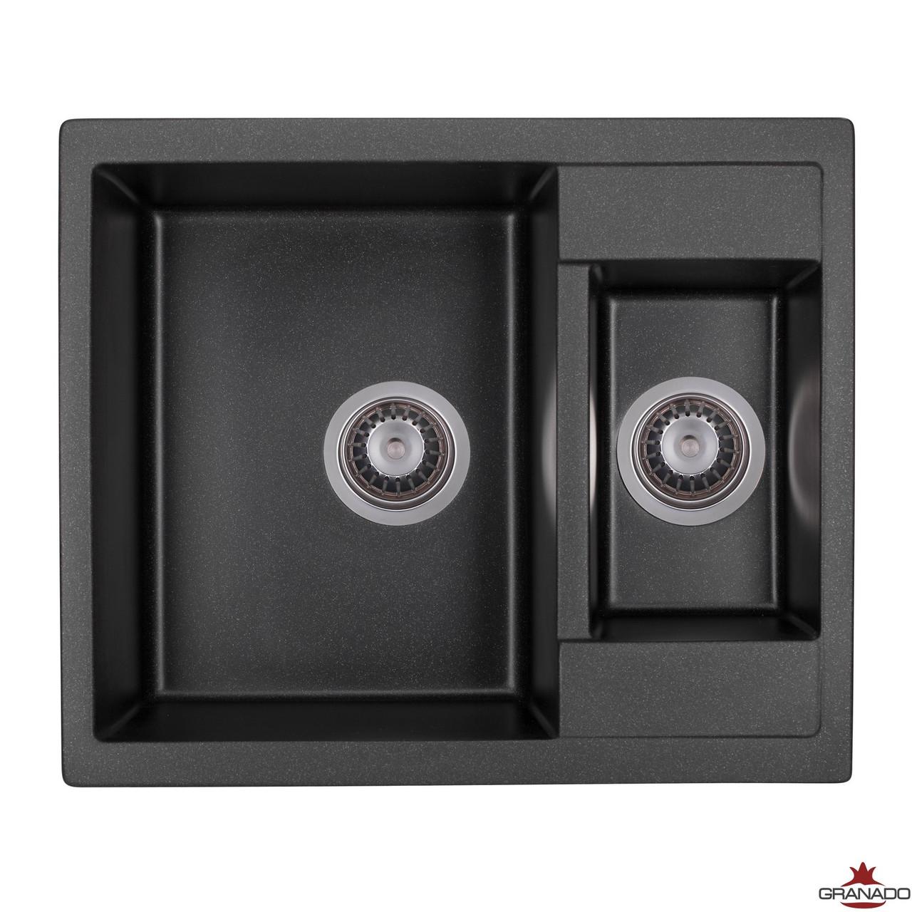 Гранитная кухонная мойка двухчашевая модель Samora цвет Black Shine от ТМ Granado прямоугольной формы