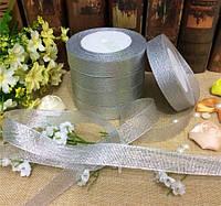 Лента парча 2,5 см серебро, фото 1