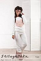 Уютный женский махровый костюм Серце молоко, фото 1