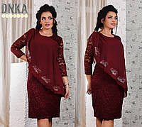 Платье БАТАЛ+ вечернее шифоновая накидка крыло с россыпью камней бордовое