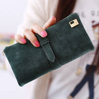 Женский кошелек из нубука FRIEND большой зеленый, фото 1