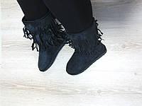 Угги замшевые черные с бахромой, фото 1