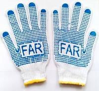 Перчатки с ПВХ- точкой (белые с желтым кантом) FAR
