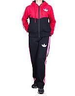 Теплый спортивный костюм на байке - три полоски - флис-коттон
