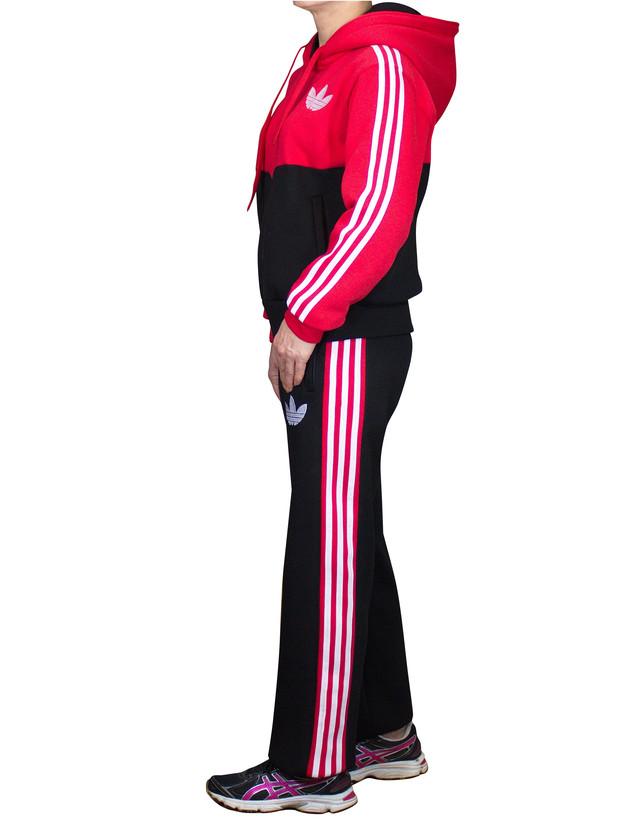 Теплый спортивный костюм на байке - красный верх - черный низ - фото teens.ua