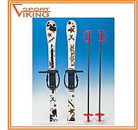 Лыжи с палками детские пластиковые 90 см (5 цв)