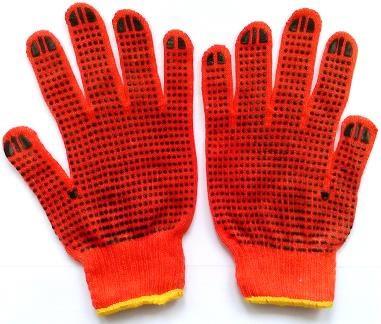 Перчатки с ПВХ- точкой (оранжевые с желтым кантом) 2-й сорт