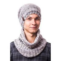 """Комплект мужской (подростковый) шапка на флисе и снуд """"Принт"""""""