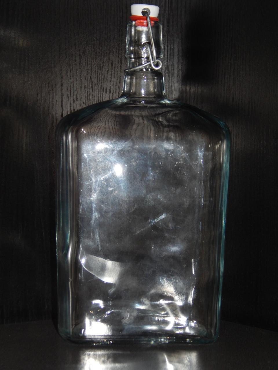 Бутылка стеклянная 1,75 л с бугельной пробкой
