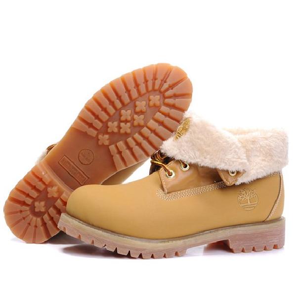 Ботинки в стиле Timberland Roll Top Yellow (С Мехом) женские тимберленд b41ced336ba2d