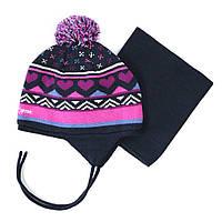 Зимняя шапка+манишка для девочки PELUCHE 66 EF ACC F16  Navy. Размеры 3/5 и 6/8.