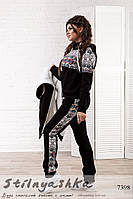 Теплый женский костюм с жилеткой тройка Этно черный