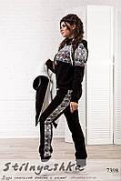 Теплый женский костюм с жилеткой тройка Этно черный, фото 1