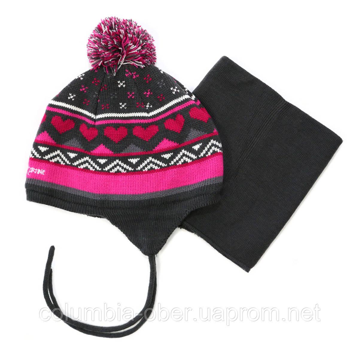Зимняя шапка+манишка для девочки PELUCHE 66 EF ACC F16  Deep Gray. Размер 3/5 и 6/8.
