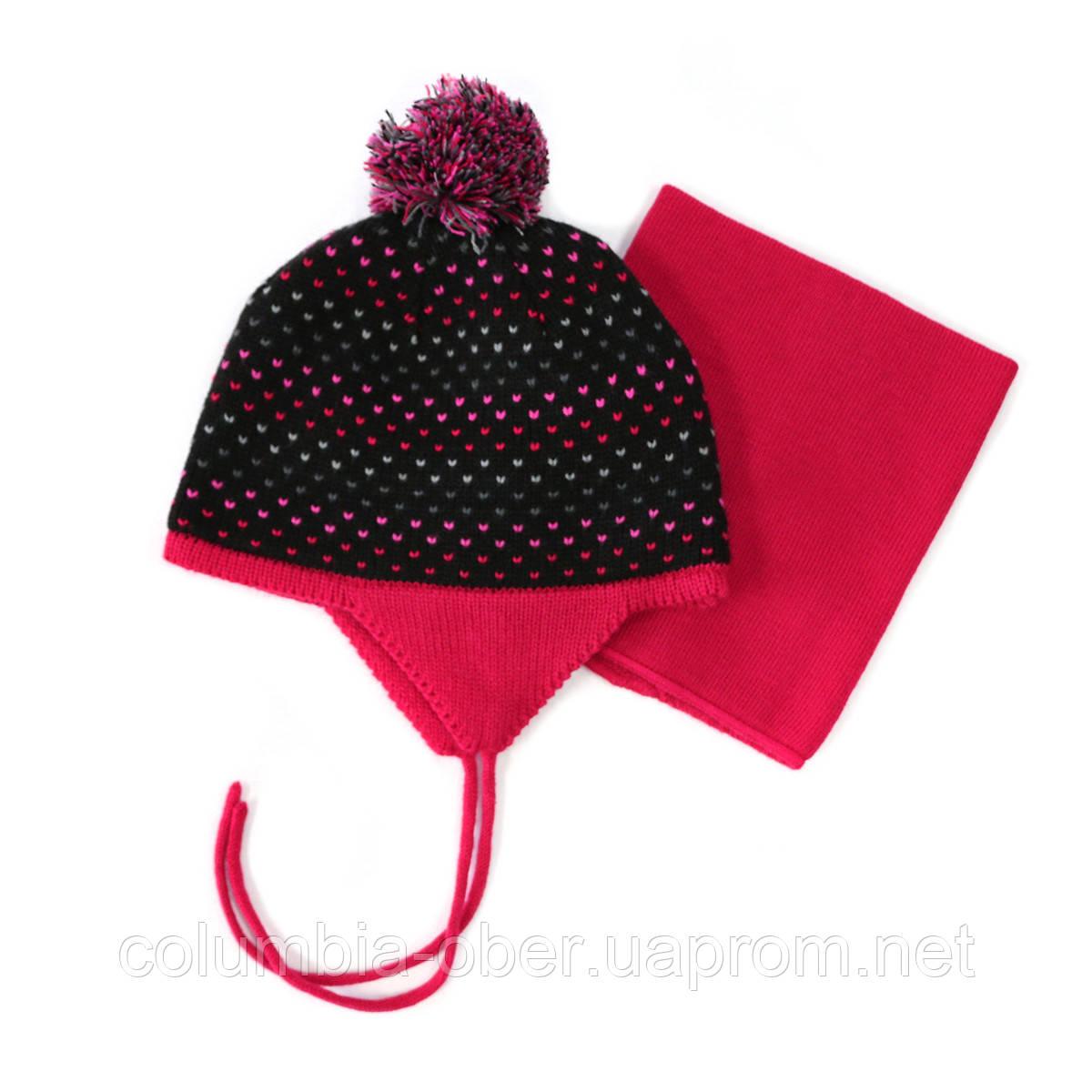 Зимняя шапка+манишка для девочки PELUCHE 58 EF ACC F16 Black. Размер 3/5 и 6/8.