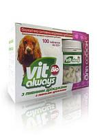 Виталвейс-Био (БАД) для собак табл. №100 банка с пивными дрожжами  (косточки)