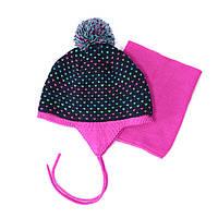 Зимняя шапка+манишка для девочки PELUCHE 58 EF ACC F16 Navy. Размер 3/5 и 6/8.