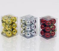 """Ёлочная игрушка 01262 """"Шарики"""" 3 вида, 12 шт в слюдее, d=3см"""