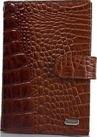 Мужской кожаный органайзер для документов с тиснением под кожу крокодила DESISAN SHI102-587 коричневый
