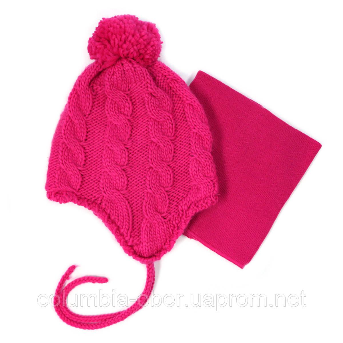 Зимняя шапка+манишка для девочки PELUCHE 52 EF ACC F16 Hot Pink. Размер 3/5 и 6/8.