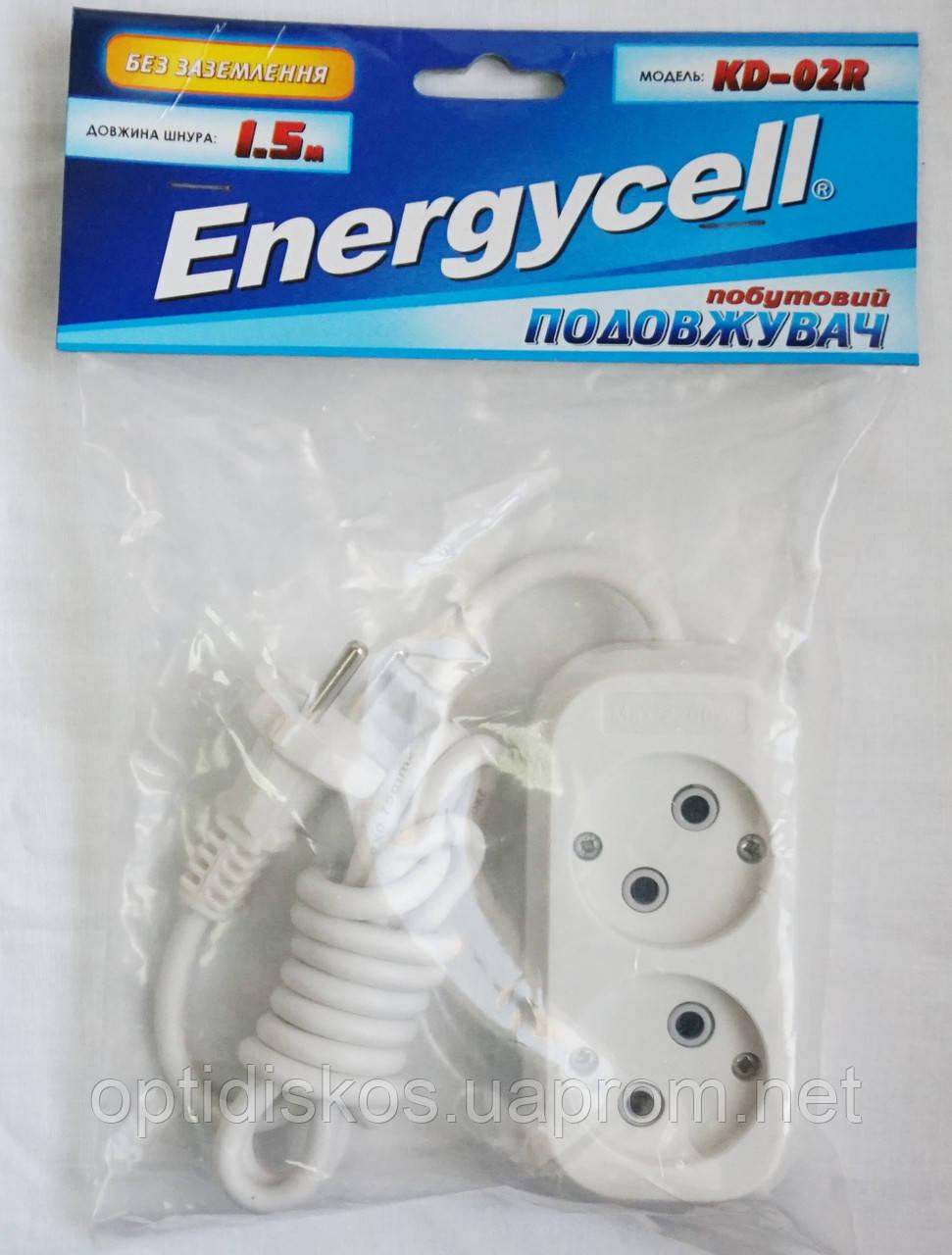 Удлинитель Energycell, 2 розетки, 1,5м (без заземления)
