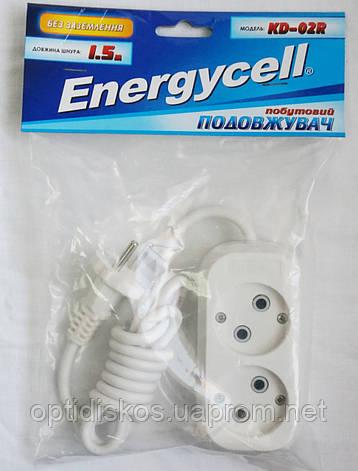 Удлинитель Energycell, 2 розетки, 1,5м (без заземления), фото 2