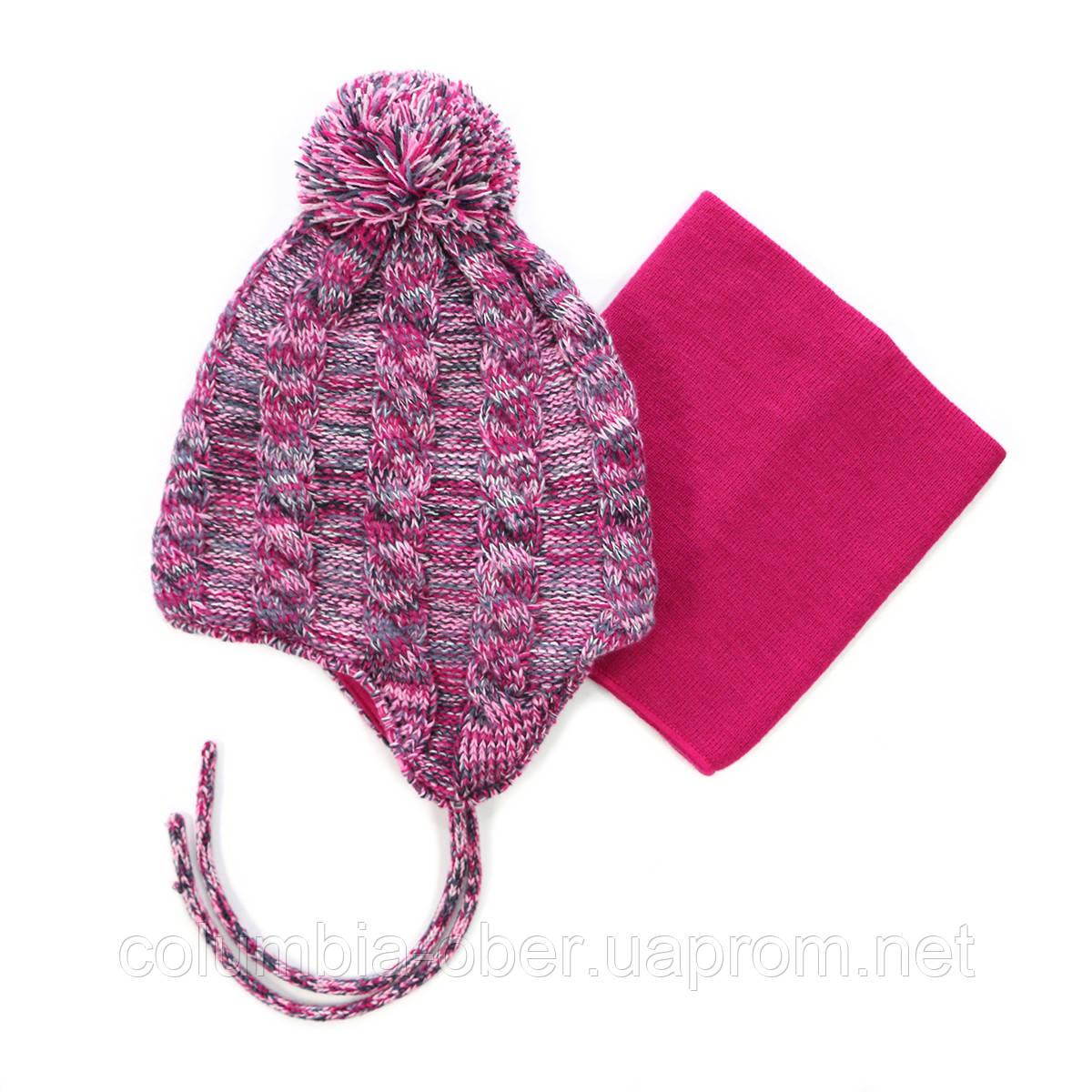 Зимняя шапка+манишка для девочки PELUCHE 50 EF ACC F16 Lollipop. Размер 3/5 и 6/8.