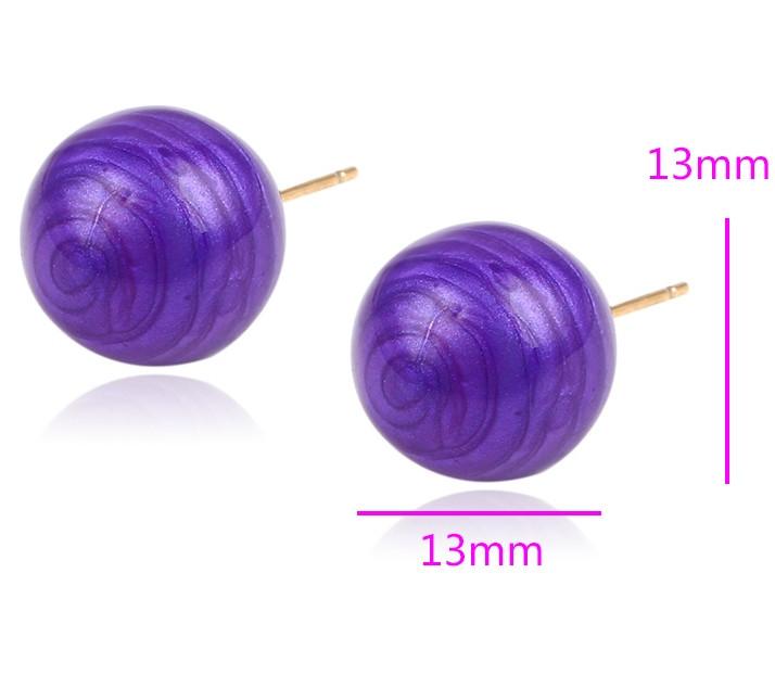 Серьги позолоченные, Фиолетовый Шар