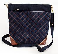 Женская сумочка с рыжими кожаными уголками