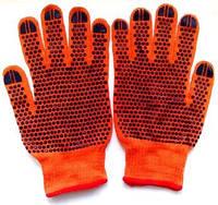 Перчатки с ПВХ- точкой (оранжевые с красным кантом) Люкс
