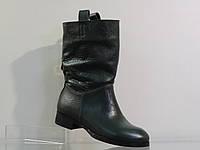 Стильные женские кожаные ботинки зима зеленые