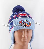 """Зимние детские шапки-ушанки для мальчиков """"Авто"""" оптом (флис) р.46-50см (джинс, серый, синий, беж)"""