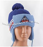 """Зимние детские шапки-ушанки для мальчиков """"Аляска"""" оптом (флис) р.46-50см (серый, синий)"""