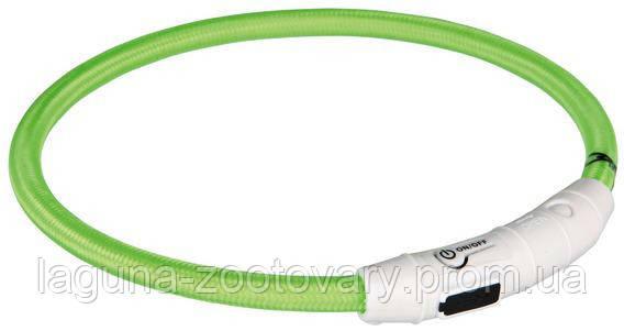 TX-12702 ошейник светящийся USB,65см для собак, зелёный