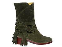 Женские замшевые демисезонные ботинки с пояском
