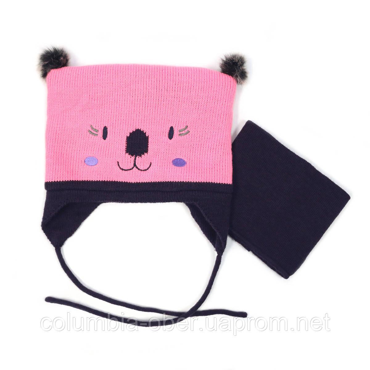 Зимняя шапка+манишка для девочки PELUCHE 40 BF ACC F16 Rose Gum. Размер 6/12м, 12/24м и 2/3.
