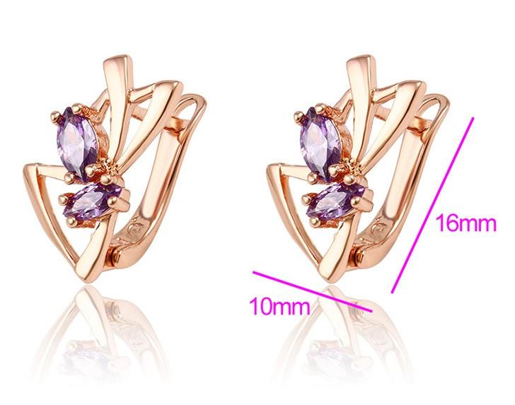 Серьги 2 фиолетовых циркония, позолота