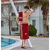 Мужской набор в баню , сауну Philippus Турция махровый бордовый