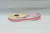 Лента тканевая, Белая с красной клеткой и кружевом, 1,5см