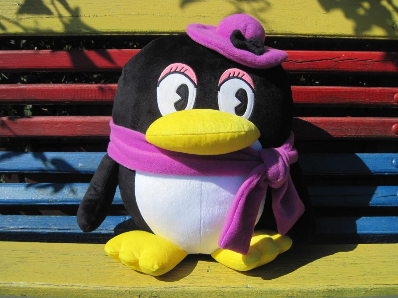 Мягкая игрушка - подушка пингвин девочка ручная работа